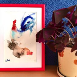 Roosters watercolor in frame
