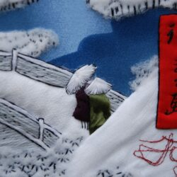 вышивка, лоскутное шитье, петчворк, арт квилтинг, зима, Андо Хиросигэ, embrodiery, art petchwork, Ando Hirosige, winter вырезка 2