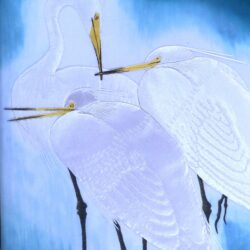Лоскутная картина, петчворк, арт-квилтинг, белые цапли, вышивка, embrodiery, art quilting, white ergrets - cut 3