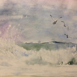 Sea landscape 4 - Anna Potri - watercolor Бушующее море - акварель Анна Потри