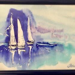Sea view 10, watercolor. Anna Potri акварель, морской пейзаж