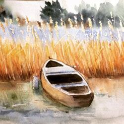 Sea view 8, watercolor. Anna Potri акварель, морской пейзаж